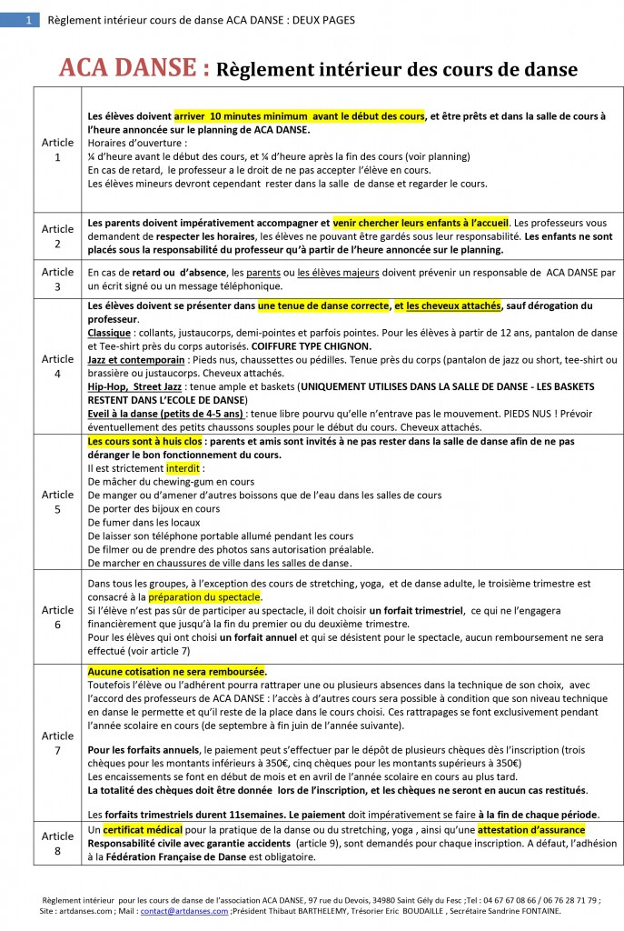 Règlement intérieur cours de danse ACA DANSE : DEUX PAGES